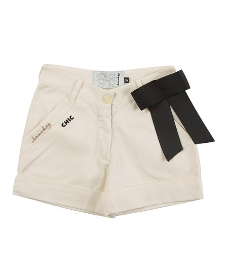 Ivory Voyage Bow Shorts - Infant, Toddler & Girls