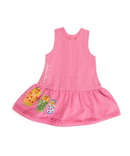 Pink Matrioska Pleated Drop-Waist Dress - Toddler & Girls