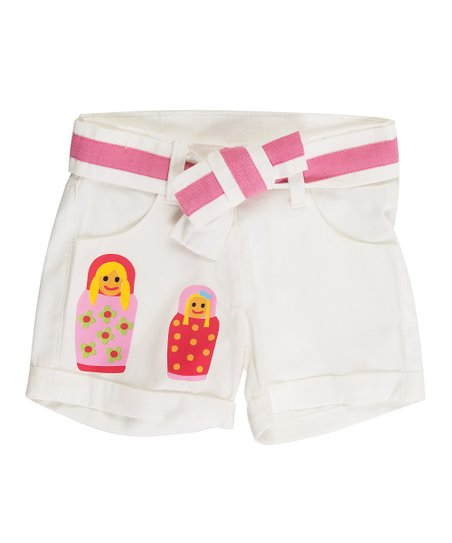 White & Pink Matrioska Shorts - Toddler & Girls