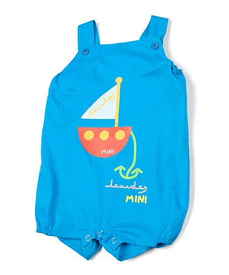 Blue & White Fish Shortalls - Infant