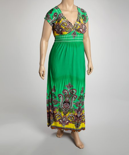 Green & Chartreuse Mehndi Cap-Sleeve Dress - Plus