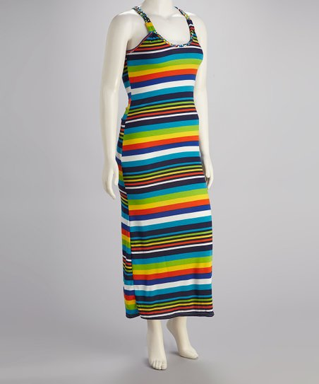 Green & Yellow Stripe Racerback Maxi Dress - Plus