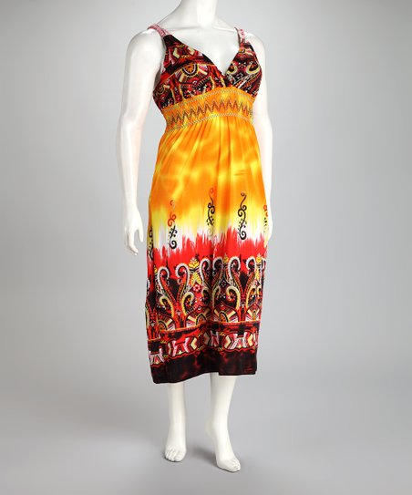 Orange Arabesque Tie-Dye Plus-Size Maxi Dress