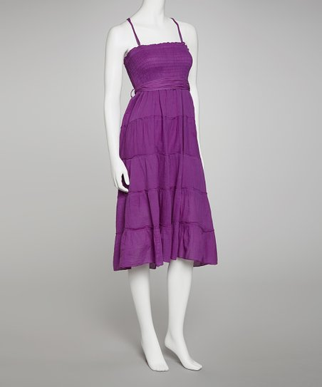 Purple Shirred Tie Dress