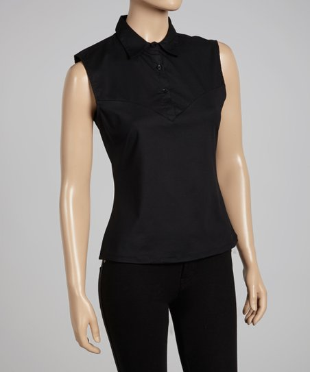 Black Sleeveless Polo - Women