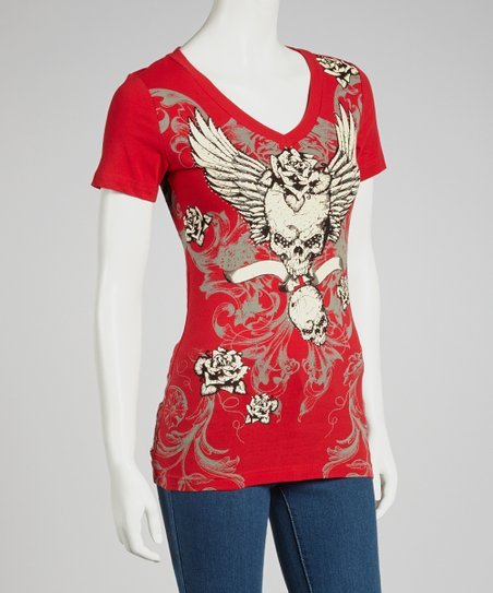 Red Skull Angel V-Neck Tee - Women & Plus