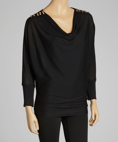Black Stud Cowl Neck Top