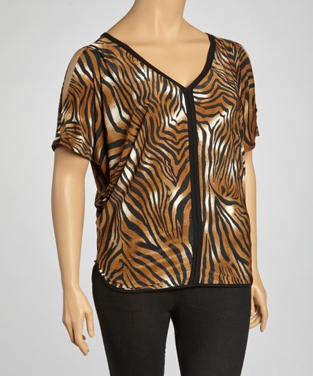 Brown Zebra Top - Plus