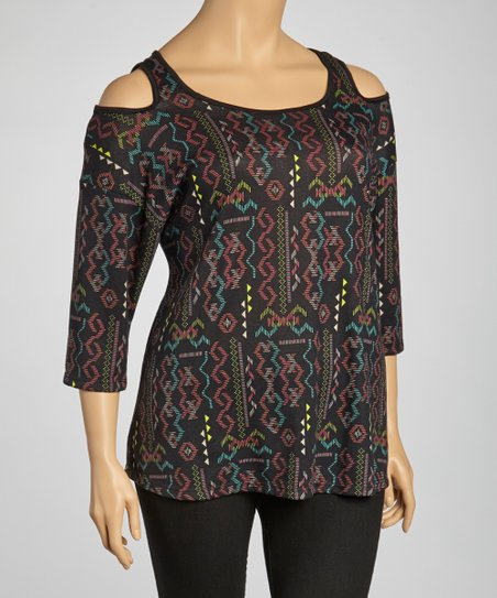 Black & Red Tribal Top - Plus