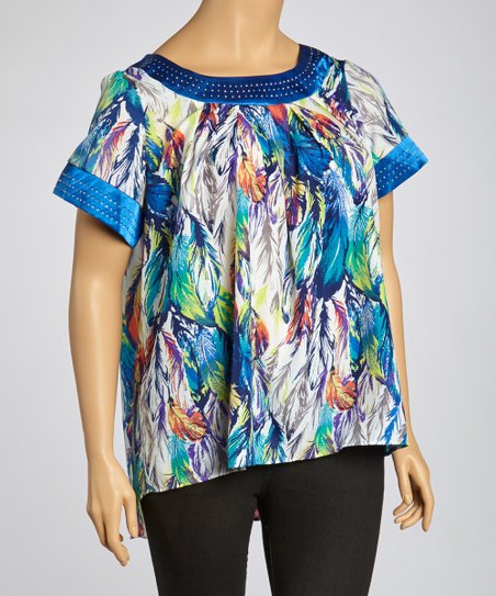 Blue Feather Top - Plus