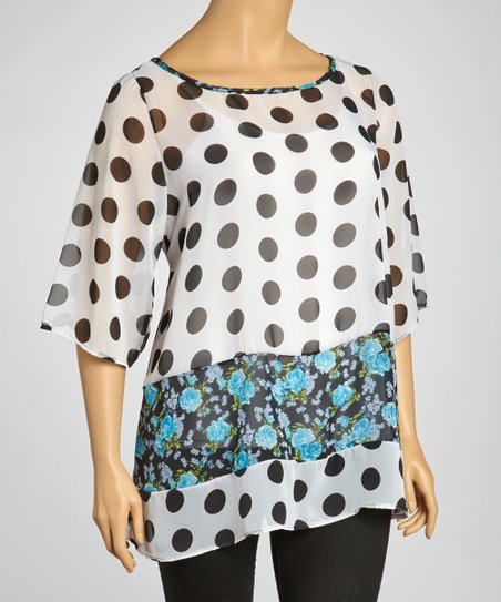 Black & White Polka Dot Sheer Top - Plus