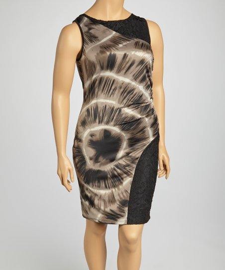 Charcoal & Black Abstract Dress - Plus