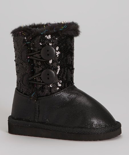 Black Sequin Faux Fur Sparkles Toggle Boot