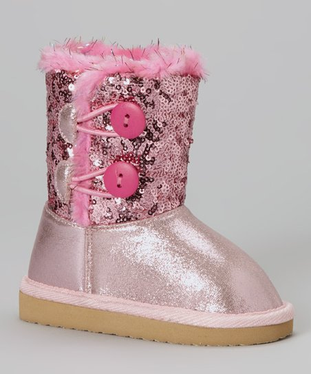 Baby Pink Sequin Faux Fur Sparkles Toggle Boot