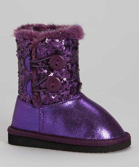 Purple Sequin Faux Fur Sparkles Toggle Boot