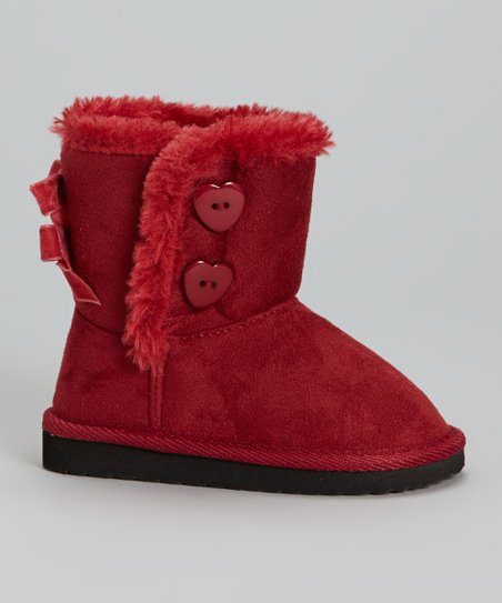 Red Bow Faux Fur Snuggles Boot - Kids