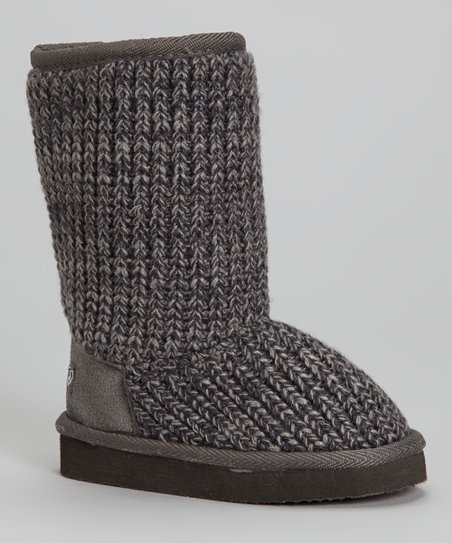 Gray Knit Boot - Kids