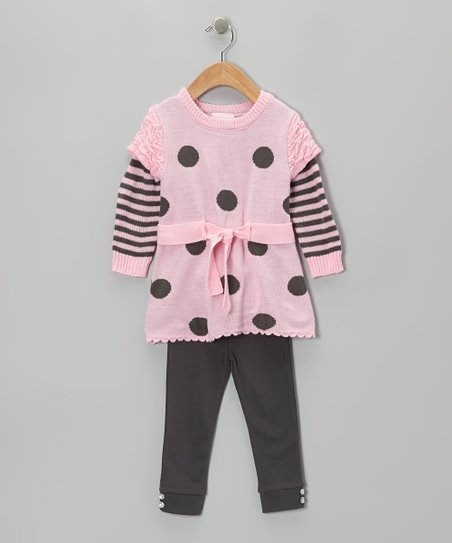 Light Pink Polka Dot Sweater & Gray Leggings - Infant