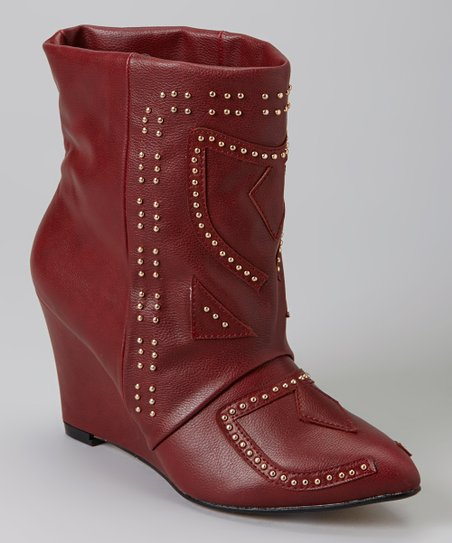 Burgundy Aurelle Wedge Boot