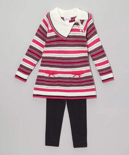 Pink Stripe Sweater Tunic & Leggings - Girls