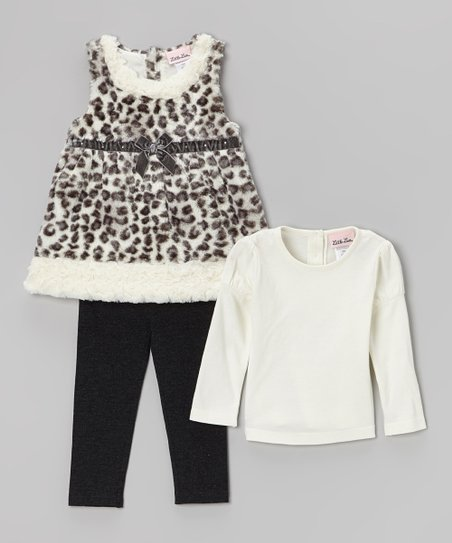 Black & White Leopard Faux Fur Jumper Set - Infant & Toddler