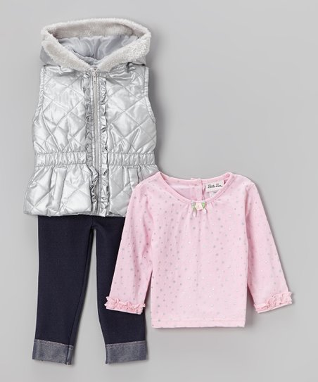 Silver Puffer Vest Set - Infant & Toddler