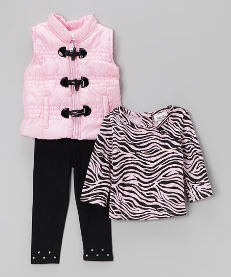 Pink Toggle Puffer Vest Set - Infant, Toddler & Girls