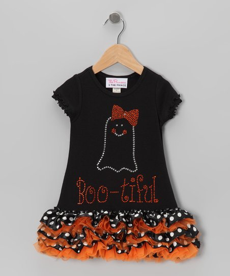 Orange 'Boo-tiful' Ruffle Dress - Infant, Toddler & Girls