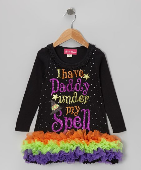 Black Sparkle 'Daddy' Ruffle Dress - Infant, Toddler & Girls
