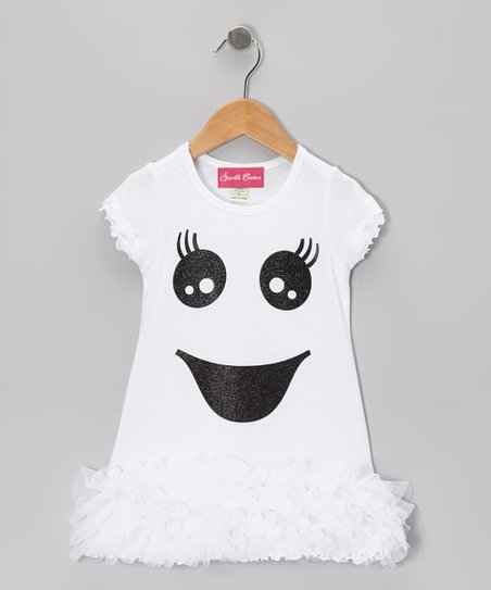 White Sparkle Ghost Ruffle Dress - Infant, Toddler & Girls