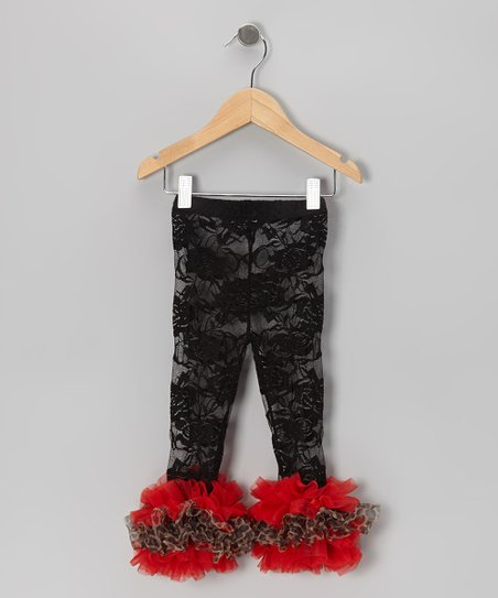 Black Leopard Lace Ruffle Leggings - Infant, Toddler & Girls