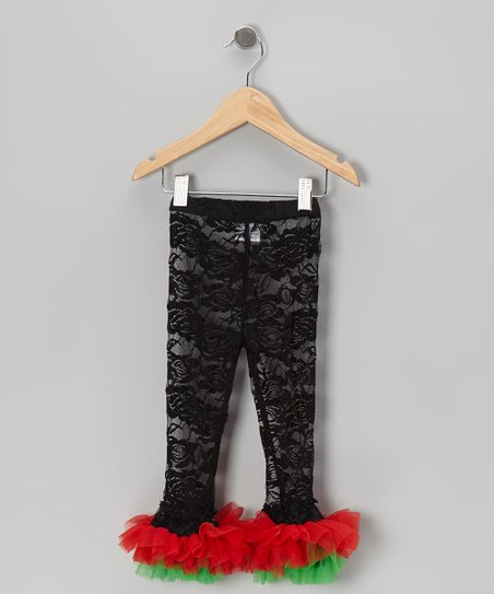 Black Rose Lace Leggings - Toddler & Girls