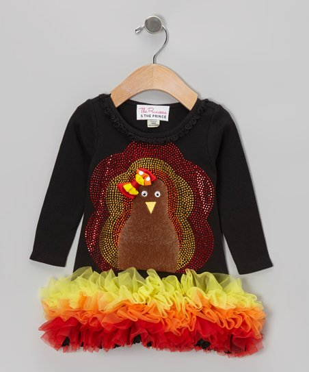 Black Fuzzy Turkey Ruffle Dress - Infant, Toddler & Girls