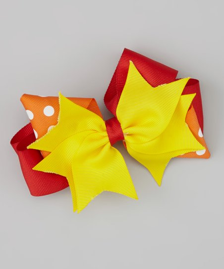 Yellow & Red Bow Clip