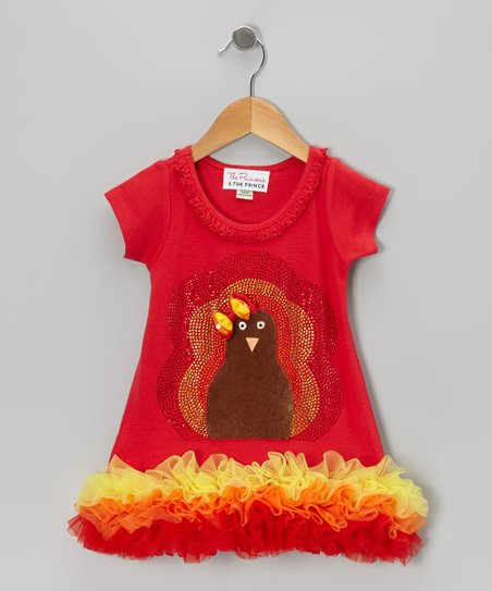 Red Fuzzy Turkey Ruffle Dress - Infant, Toddler & Girls