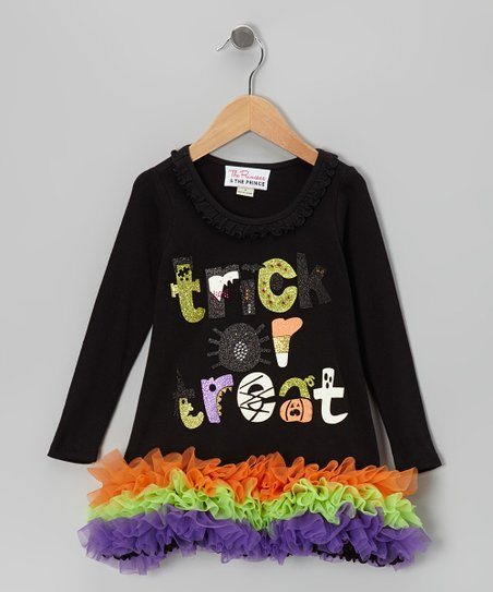 Black 'Trick or Treat' Ruffle Dress - Infant, Toddler & Girls