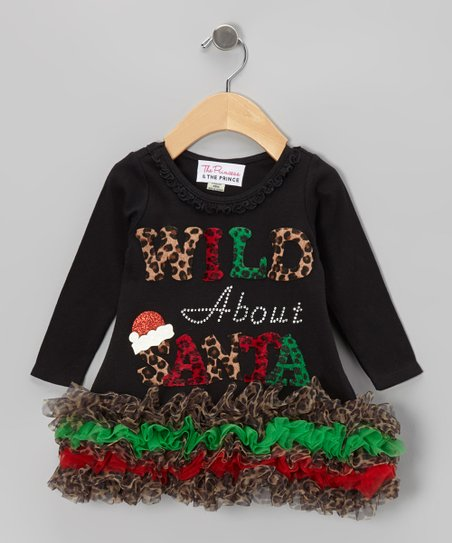 Black 'Wild About Santa' Ruffle Dress - Infant, Toddler & Girls