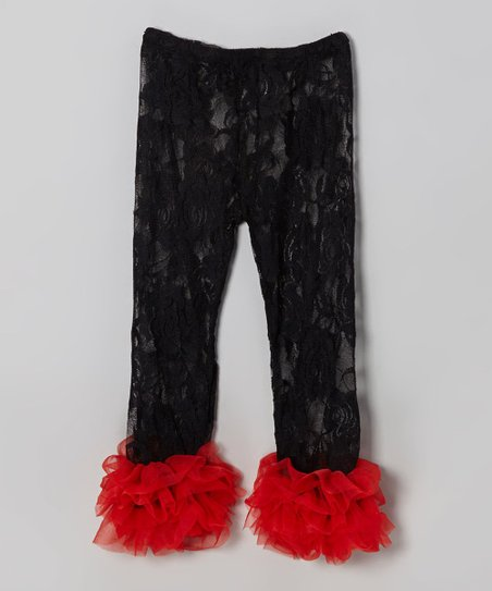 Black & Red Lace Ruffle Leggings - Infant, Toddler & Girls