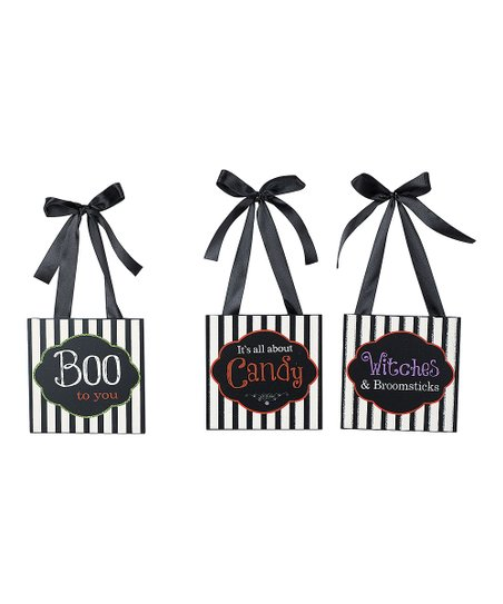Halloween Sayings Black & White Stripe Bag Ornament Set