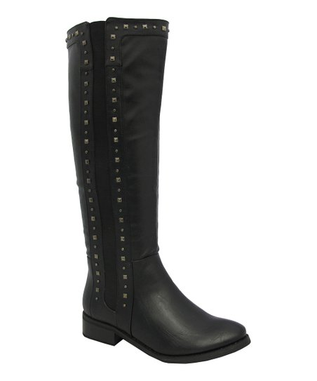 Black Studded Tiara Boot