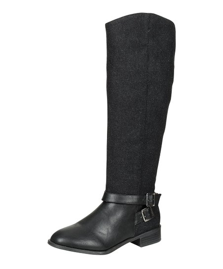 Black Asiana Buckle Riding Boot