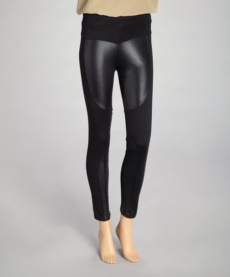 Black Double Faux Leather Leggings - Women