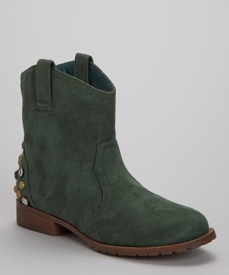 Green Studded Philip Ankle Boot