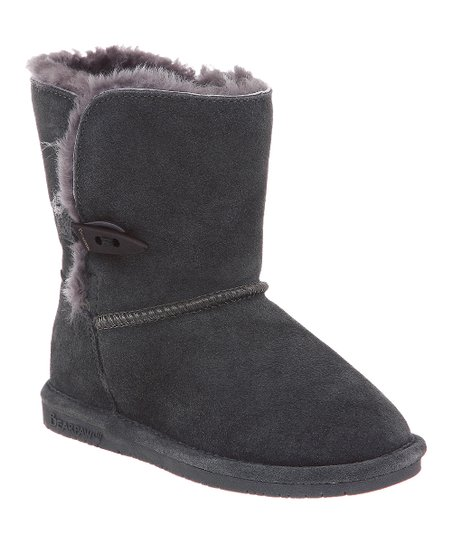 Charcoal Suede Abigail Boot - Kids