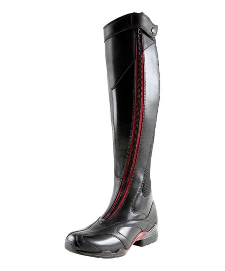 Black Leather Volant Boot - Women