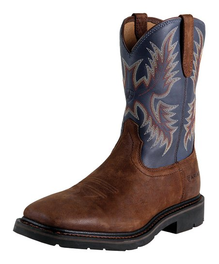 Brown Sierra Wide Square Toe Boot - Men