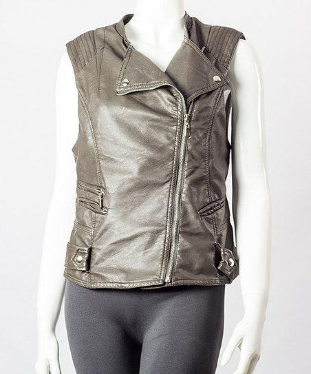 Coffee Faux Leather Asymmetrical Vest - Women