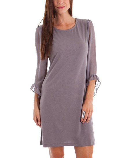 Gray Ruffle Bell-Sleeve Dress
