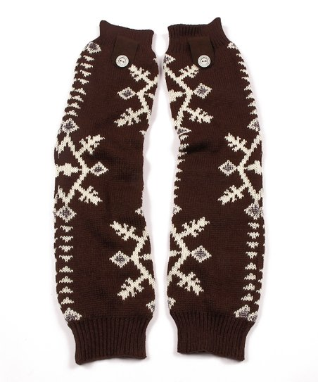 Brown North American Button Leg Warmers - Women