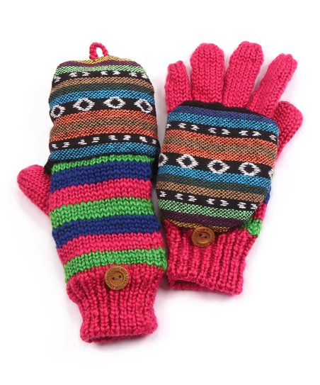 Purple Faux Fur Convertible Mittens - Kids